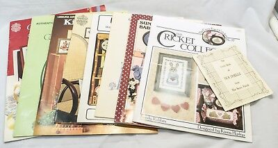 Lot of 9 Cross Stitch Pattern Booklets Lighthouse Bunny Quotes Kitchen Hummel