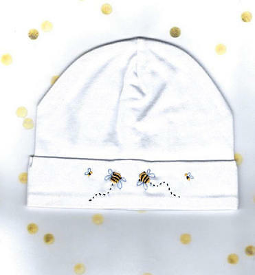 Baby Beanie, Embroidered Bumble Bee Baby Beanie, Baby Hat, Size 0000 - 000