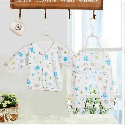 7A2C 2Pcs Newborn Baby Clothing 0-3 Month Gowns Button Tops+Pants Underwear