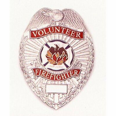 Deluxe Volunteer Firefighter Nickel Silver Badge Shield Red with Full Color Seal