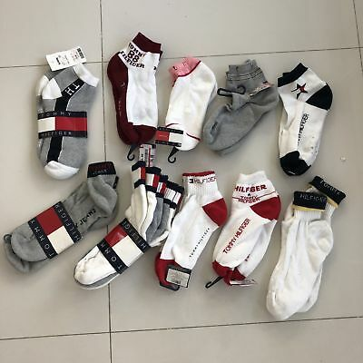 RARE New 12 Vintage Tommy Hilfiger Mens SPELL OUT Big Logo Socks Lot DEADSTOCK