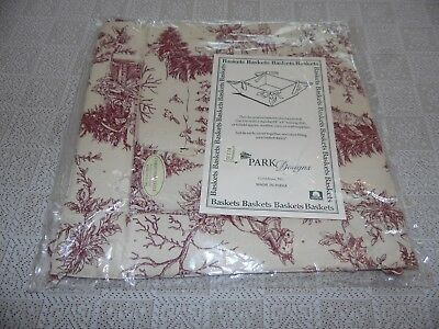 "Nip Christmas Toile Basket Liner By Park Design 13"" X 13"""