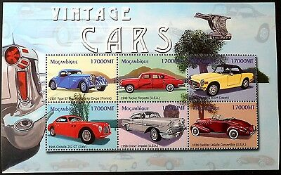 2002 Mozambique Vintage Car Stamp Sheets Automobile Stamps Car Chevy Cadillac