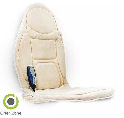 Medivon Back Massaging Heated Car Seat Vibrating Mat Chair Cream Soft Home Relax