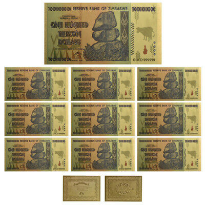 10× $100 One Hundred Trillion Dollar Zimbabwe Gold Banknote Set w/ Rock COA