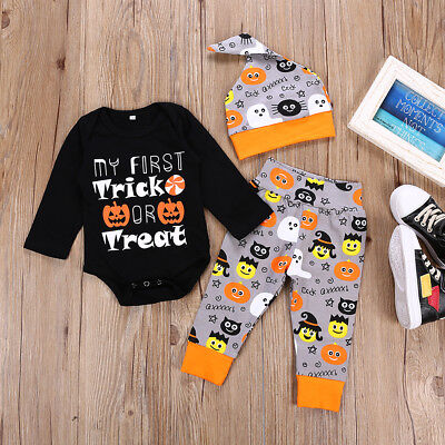 Newborn Baby Boys Girl Romper Bodysuit Pants Hat Outfits Halloween Clothes Cute