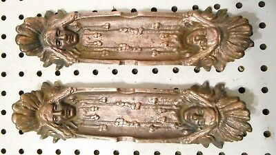 Pair Antique Indian Head Cigar Rest Ashtray Key Holder Cast Iron Guilded