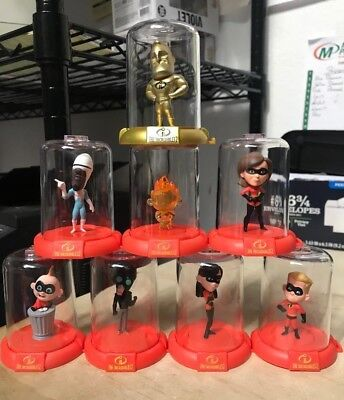 Disney The Incredibles Gold Chase Domez 8 Pc Set 2018 Sdcc Comic Con Exclusive