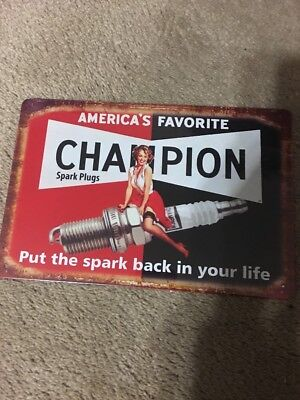 """Champion-Spark Plugs"" Tin Sign Metal Poster Garage Wall Decor Plaque U.S Seller"