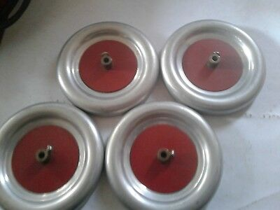 very very nice SET OF 4 WHEELS A.C. GILBERT WITH RED METAL HUB AND SETS