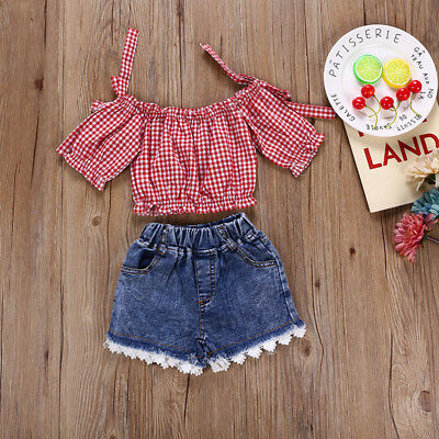 Casual Toddler Kid Girl Off Shoulder Top T-shirt Lace Denim Shorts Pants Outfit