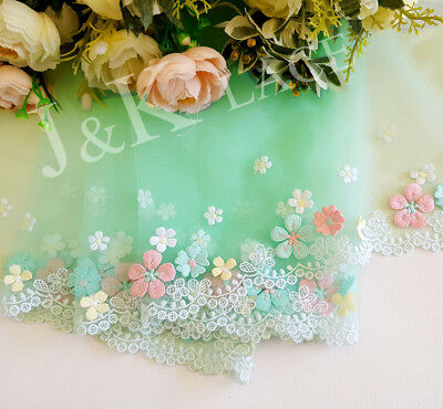 20 cm width Lovely Light Green 3D Flowers Embroidery mesh Lace Trim
