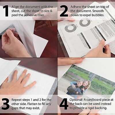 """Self Stick Crystal Clear Glossy Laminating Sheets 6"""" x 9"""" Fits 5x7 Photos (5 Ea)"""
