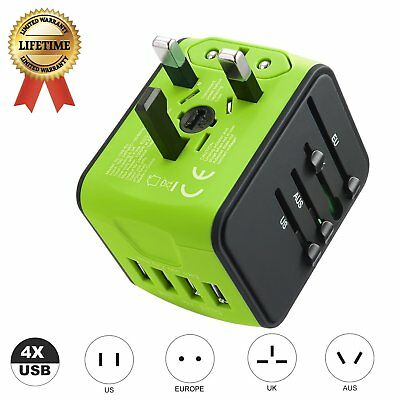Universal Travel Power Adapter  International Fast Charger 4 USB Ports Green