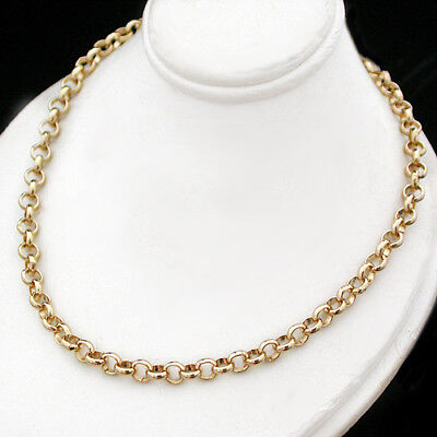 """4.5mm 14k Yellow GOLD EP NEW BELCHER LINK 16"""" Necklace Fashion Chain Jewellery"""