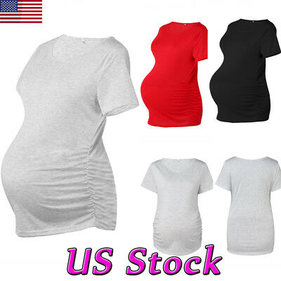 Maternity Women Clothes Pregnant Short Sleeve Tops Stretch Blouse Comfy T shirt