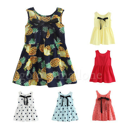 UK Summer Toddler Baby Girls Party Dress Playsuit Sundress Clothes Age 2-7 Years