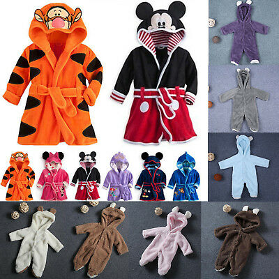 Toddler Baby Kids Girls Boys Robe Sleepwear Soft Cartoon Pajamas Nightwear 0-6Y