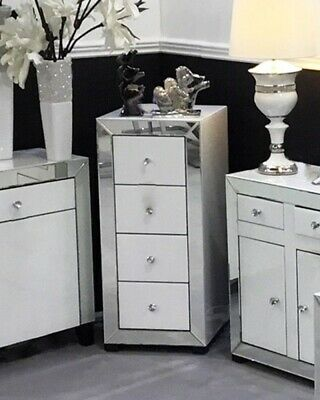WHITE GLASS MIRRORED Tallboy Four Drawer Chest Of Drawers ...