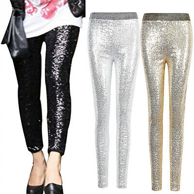 Women Stretchy Sequins Skinny Leggings Pants Glitter Metallic Trouser Fashion AU