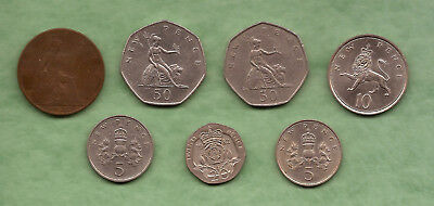 Lot of 7 UK (Great Britain) coins 1932,1969,1970,1976,1979,1982
