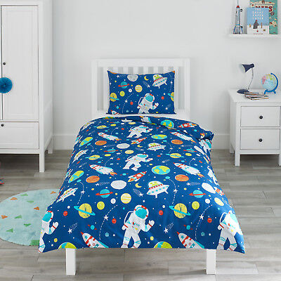 Space Toddler Duvet Cover Pillowcase Set Rockets Cot Bed Junior Kid Bedding Boy