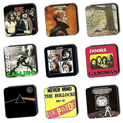 Seventies Music Albums Covers - Art - 1970's Music - Coasters - Wood - 4 FOR 3