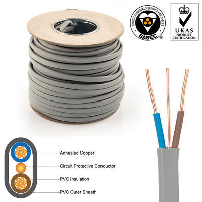 Flat Twin and Earth Cable 6242Y 1.5mm 2 Core Electrical Wire Lighting Switches