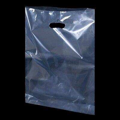 "Clear Plastic Polythene Shopping Carrier Bags Patch Handle Security 10""x16""x4"""