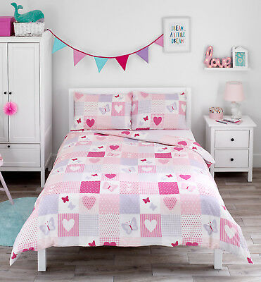 Bloomsbury Mill Heart Butterflies Patchwork Girls Bedding DOUBLE Duvet Cover Set