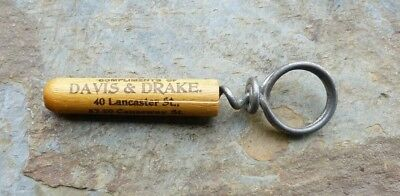 Antique  Advertising Cork Screw Davis & Drake 40 Lancaster St, Boston, MA