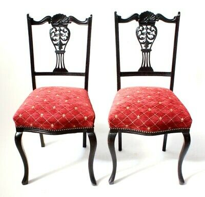 A pair of Antique Chippendale Ebonized Dining Chairs - FREE Shipping [PL3096B]