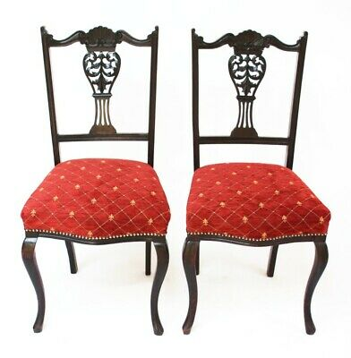 A pair of Antique Chippendale Ebonized Dining Chairs - FREE Shipping [PL3096A]
