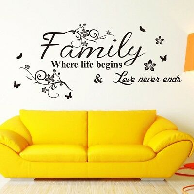 Home Wall Stickers FAMILY Letter Quote Removable Vinyl Decal Living Room Decor