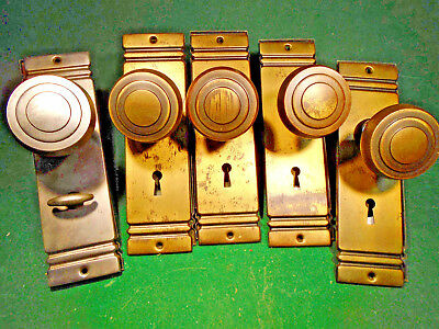 ONE ART DECO BRASS WASHED KNOB SET w/ PLATES - VERY NICE  (10438)