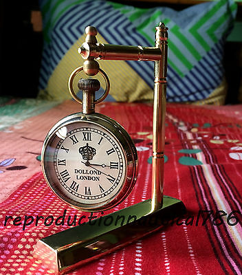 Handmade Solid Brass Working Desktop Clock Vintage Nautical Clock Decorative