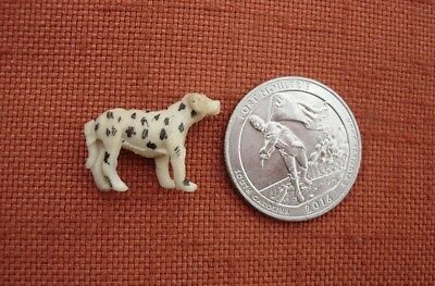 1950s TINY CARVED BONE SPOTTED DOG DALMATION?