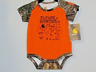 Carhartt infant boys orange 1-piece w/FUTURE HUNTER , dog, antlers, boots, etc.