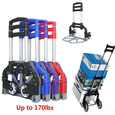 170 LBS Capacity Cart Folding Hand Truck Dolly Push Collapsible Trolley Luggage