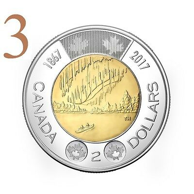 CANADA 2017 New 3xToonies 150th Our Wonders DANCE OF THE SPIRITS (BU From roll)