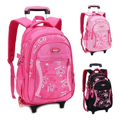 Children's Rolling Luggage Backpack School Bag Travel Trolley Removable Wheel