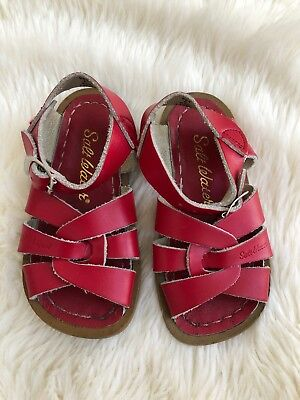 Infant Toddler Baby Girls Hoy Sun San Salt Water Sandals Red Leather Sz 6  Buckle