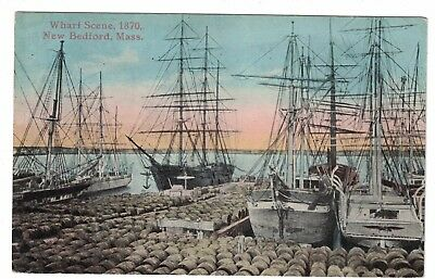 Wharf Scene 1870s New Bedford Mass. Unused Postcard Whaling Ships Oil Casks
