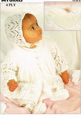 db064b361 BABY KNITTING PATTERN VINTAGE matinee jacket bonnet booties mitts ...