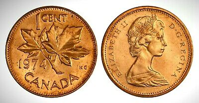 Canada 1974 Small Cent UNC Brilliant Uncirculated GEM BU Penny!!