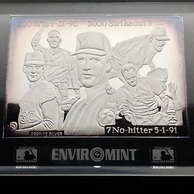 MLB Nolan Ryan Commemorating 25 years 3 oz .999 Silver Bar W/COA (0718)