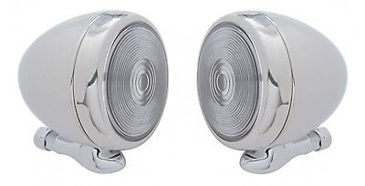 "Pair 5"" Dummy Spot Light Chrome Metal Classic Hot Rod Antique Car Teardrop Lamp"
