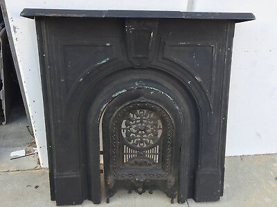Antique Cast Iron Fireplace Mantel Cover Back And Surround
