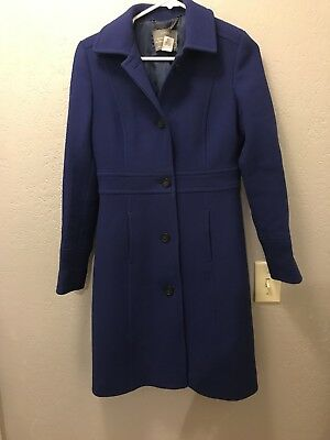 J Crew Double Cloth Lady Day Coat With Thinsulate Italy Blue Navy Xs