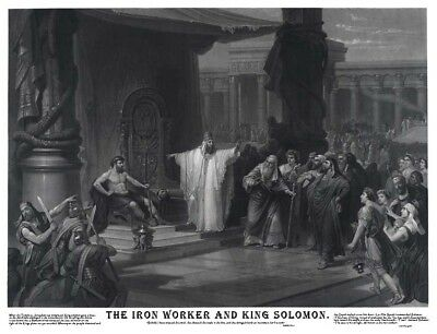 Rare Masonic IRON WORKER AND KING SOLOMON 12X18 Art Print Poster Ring Freemasons